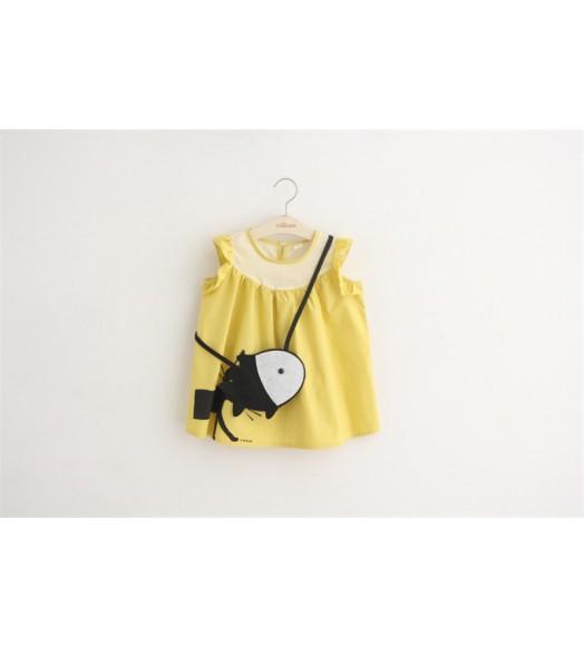 فستان اصفر ردان فراشة +حقيبة