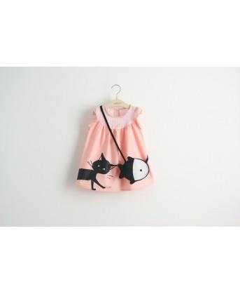 فستان ورديي ردان فراشة +حقيبة