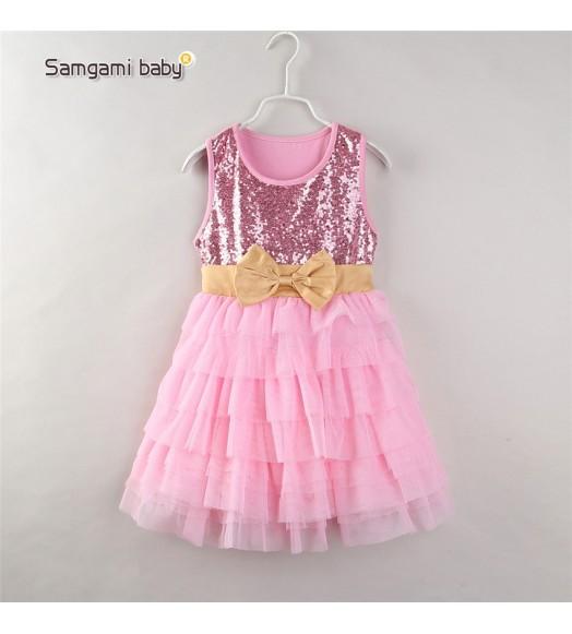 فستان وردي للبنات
