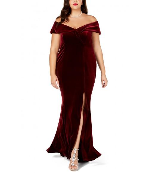 فستان مخملي بلس سايز