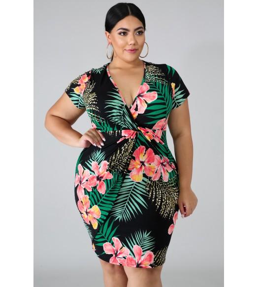 فستان بلس سايز طبعة الزهور