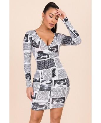 فستان ميني دريس طبعة الجريده